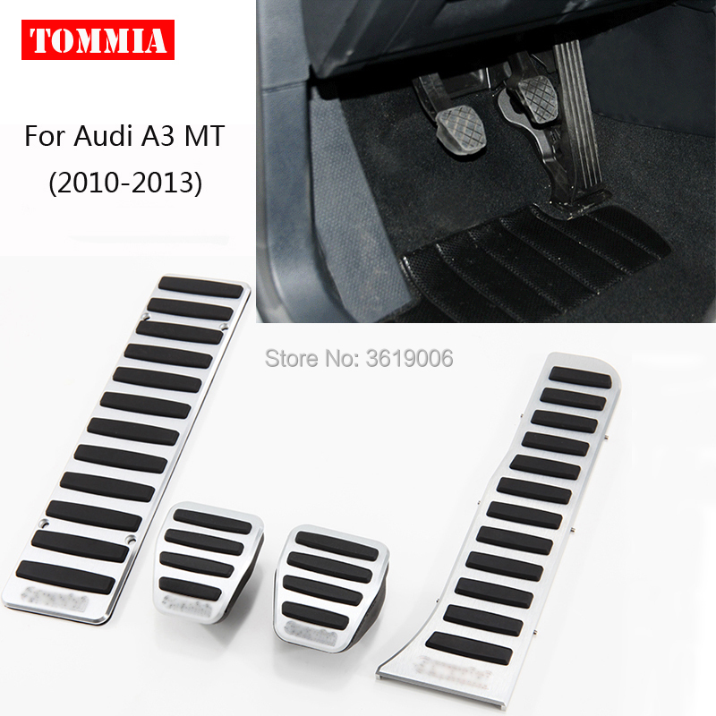 tommia Aluminum Footrest Gas Brake Pedals Pad kit For Audi A3 MT 2010-2013 no drilling cool design styling