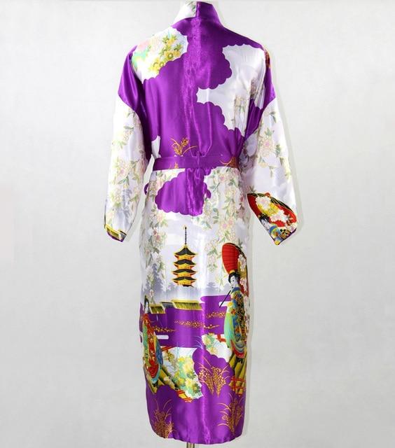 Большой размер XXXL фиолетовый женщины шелкового кимоно кафтан платье китайский длинные район халат новинка печатных Feminino Pijama SR008