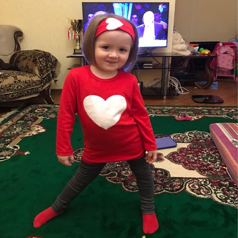 JENYA 3PCS LOVE SET 1pc Hair Band+1pc Shirts+1pc Pants Childrens Clothing Set Girls Clothes Suits Pink Red Heart