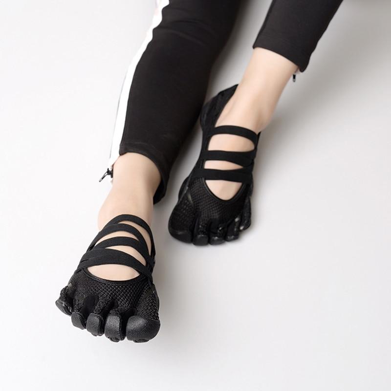 Vêtements de yoga à cinq doigts vêtements de yoga Pilates cinq doigts antidérapants respirant léger nu chaussure noire pour les femmes chaussures de danse