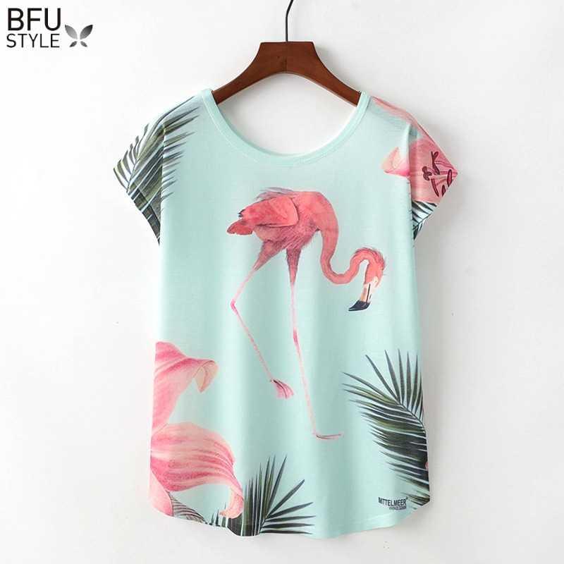 mejor seleccione para el más nuevo diversificado en envases 2019 camisetas de flamencos para mujer verano Kawaii ropa suelta de manga  corta Top Harajuku unicornio Camisetas Mujer Camisetas Sexy chica