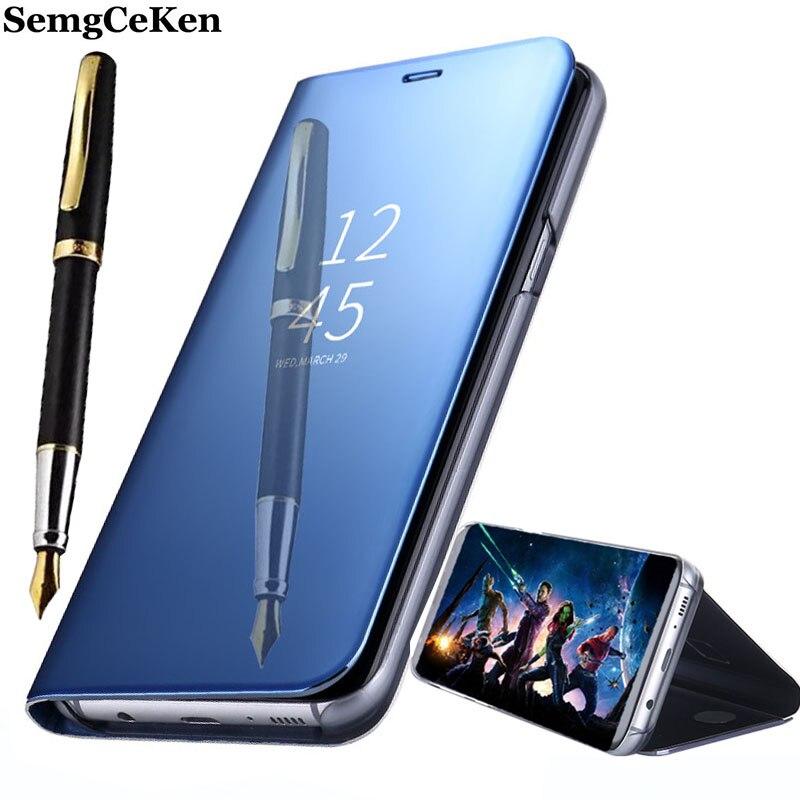 SemgCeKen Luxo fique flip phone case de couro para samsung galaxy S6 borda S 6 S6edge plus espelho pu inteligente visão Clara coque capa