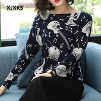 XJXKS Sweaters Fashion 2018 Women Sweater Reactive Printing Music Note Pattern Jumper Casual Pullover Dropshipping