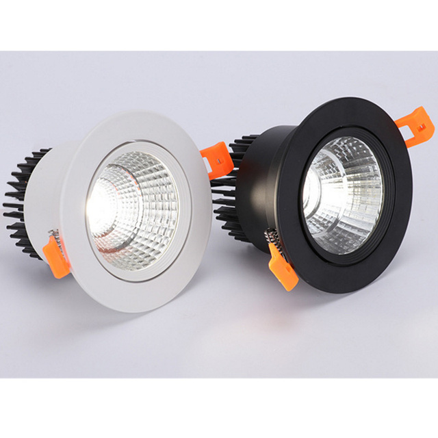 Blanco negro LED COB Spotlight lámpara de techo AC85-265V 3W 5W 7W 9W 12W 15W downlight empotrados de aluminio redondo led panel de luz 2