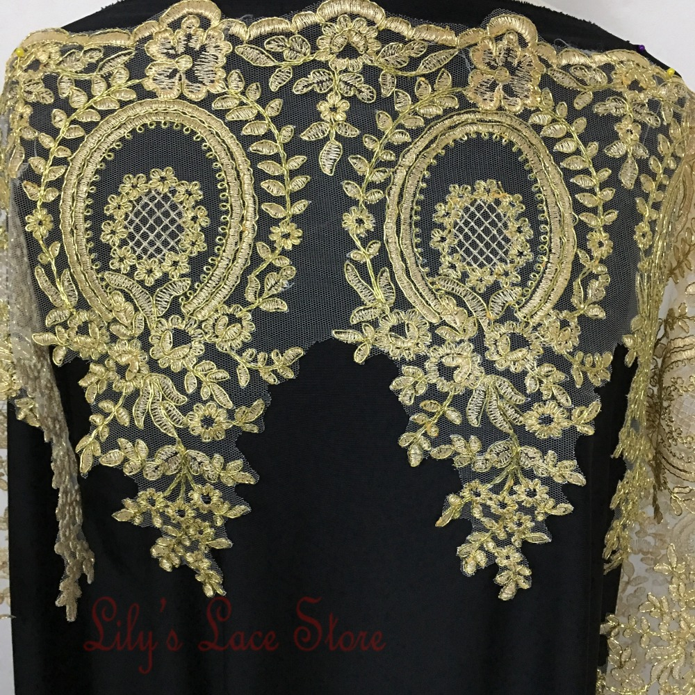 7Colors embroidered tulle mesh lace trim gold metallic yarn full dress lace trimming golden lace border