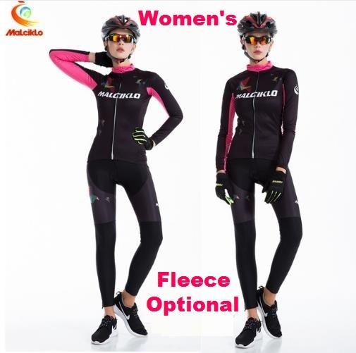 Female Long Sleeve Sports Bike Jersey Womens' Cycling Jerseys Winter Fleece Bicycle Racing Clothings Racing Dress QM17LTW1