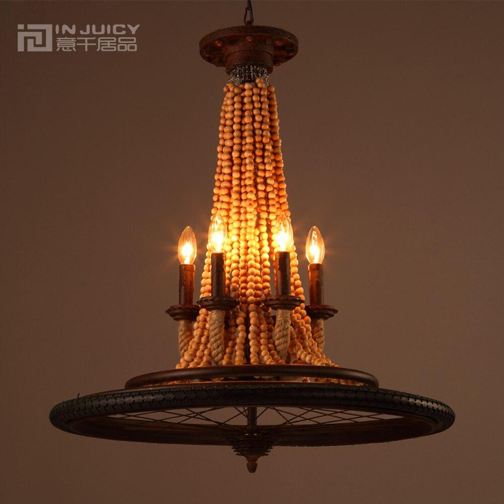 retro wrought iron wheel wooden bead edison chandelier lighting rustic antique american country metal chandelier for - Wood Bead Chandelier