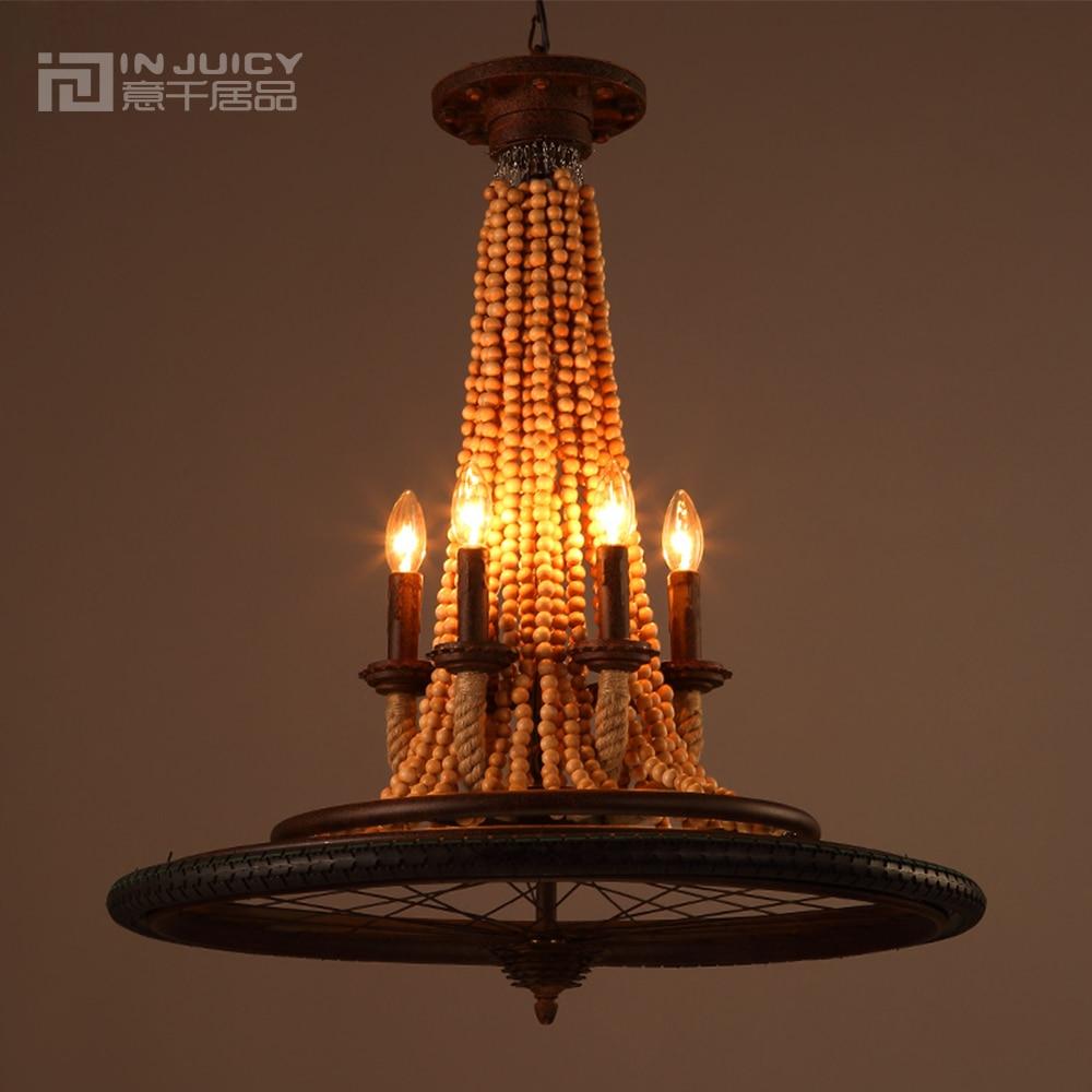 Acquista all'ingrosso online legno lampadario in ferro da ...