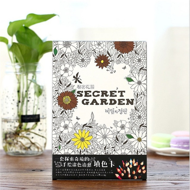 Secret Garden An Inky Treasure Hunt And Coloring Card For Children Adult Release Stress Kill Time