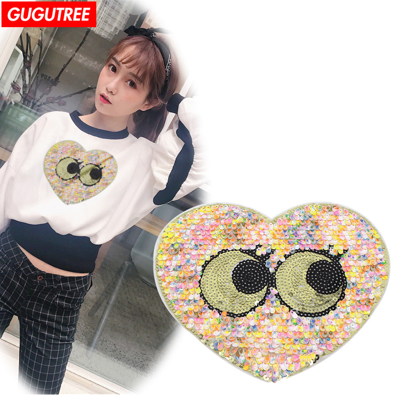 GUGUTREE embroidery paillette big love heart patches eye patches badges patches for jackets
