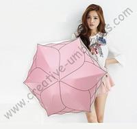 Ladies summer flor folha de lótus super leve dobrável mini guarda-chuva de bolso 5 vezes revestimento de cor anti-uv bordado parasol