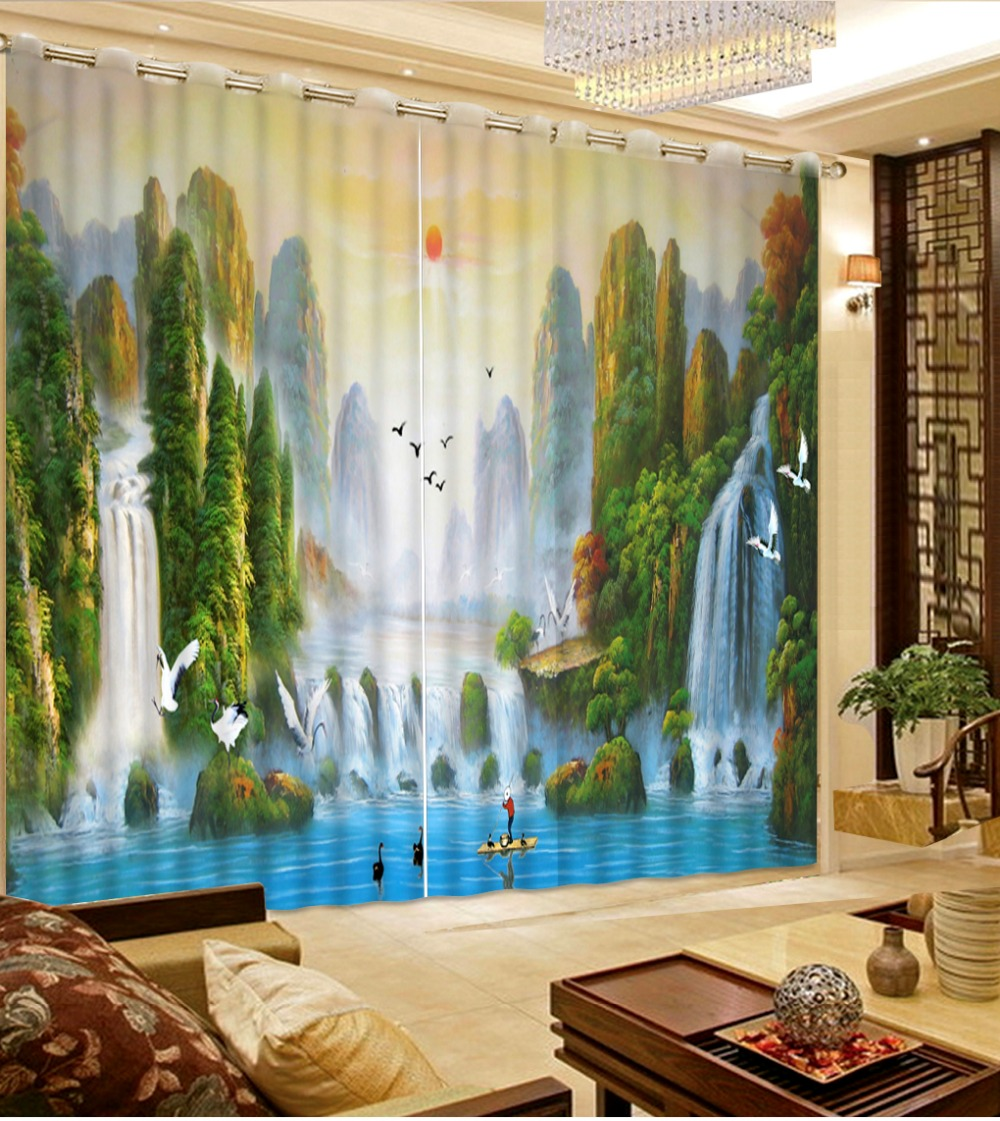 Home Decor Living Room Natural Art Beautiful Window Curtains Nature Scenery Curtains For Living