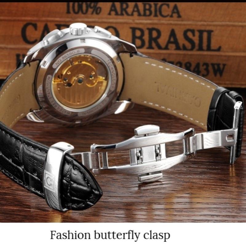 Модные механические часы для мужчин, роскошный бренд, карнавал, многофункциональные автоматические часы для мужчин, самовзводные, календарь, кожаный ремешок, светящийся - 5