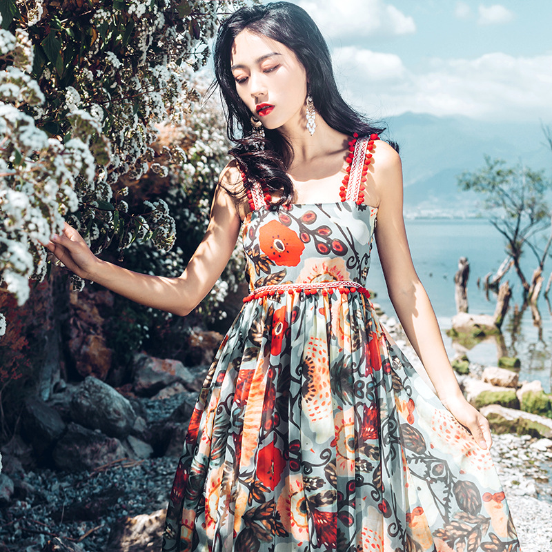Tang women summer dress 2019 sling Floral maxi dresses boho summer vacation lace beach dress in Dresses from Women 39 s Clothing
