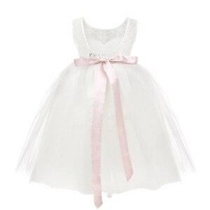 Image 4 - TiaoBug Çocuk Kız Beyaz Backless Çiçek Kız Elbise Doğum Günü Partisi Prenses Elbise Tül Pageant Elbise 2 12