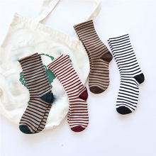 Fashion socks Women Warm Stripe Socks Mid Tube Cotton Retro Style Fashion funny socks calcetines mujer(China)