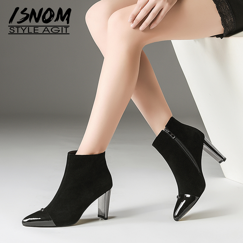 ISNOM Winter High Heels Ankle Women Boots Zip Pointed Toe Footwear Fashion Kid Suede Female Boot Warm Shoes Woman 2018 New BlackISNOM Winter High Heels Ankle Women Boots Zip Pointed Toe Footwear Fashion Kid Suede Female Boot Warm Shoes Woman 2018 New Black