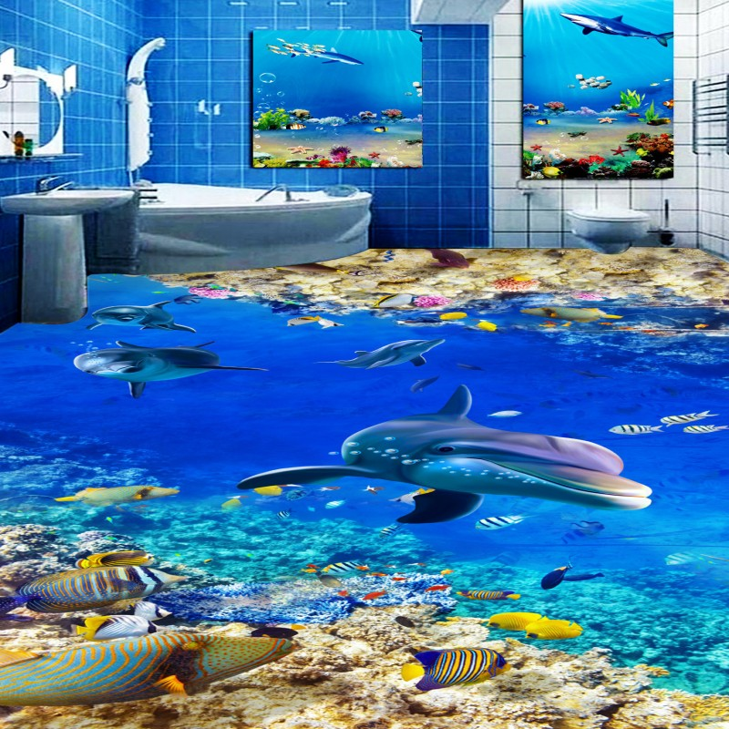 Free Shipping Blue Underwater World Toilet Bedroom 3D PVC Floor thickened moisture proof lobby living room flooring mural free shipping ground cracked canyon square street 3d park floor stickers thickened moisture proof flooring wallpaper mural
