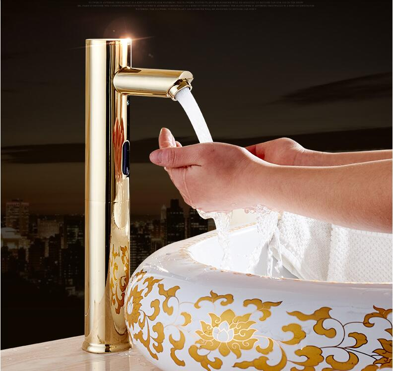 Brass Bathroom Sink Faucet Basin Faucet Automatic Sensor Mixer Touch Free Sensor gold Faucet single Cold