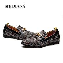 MEIJIANA/мужские лоферы без шнуровки, мужская модельная обувь, кожаная мужская повседневная обувь, лоферы ручной работы, новинка 2018 года, модная мужская Свадебная обувь