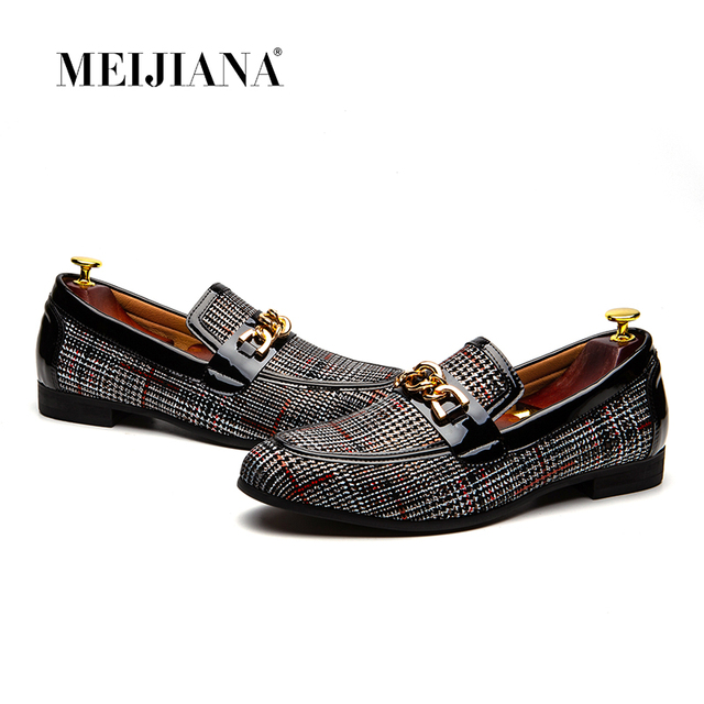 d8363d38c23 MEIJIANA Slip On Loafers Men Men Dress Shoes Leather Men Casual Shoes  Handmade Loafers 2018 New