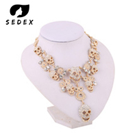 Wedding Gift Multi layer Crystal Long Skull Necklaces Hip Hop Party Collar Chain Chokers for Women's Fashion Jewelry Accessories