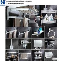 Hongdec настенное крепление пространство Алюминий белый полотенце Аксессуары для ванны стойки мыло набор посуды