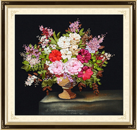 55X55cm DIY ribbon embroidery flowers 3d Chinese cross stitch kits embroidery needlework sets broderie fleur
