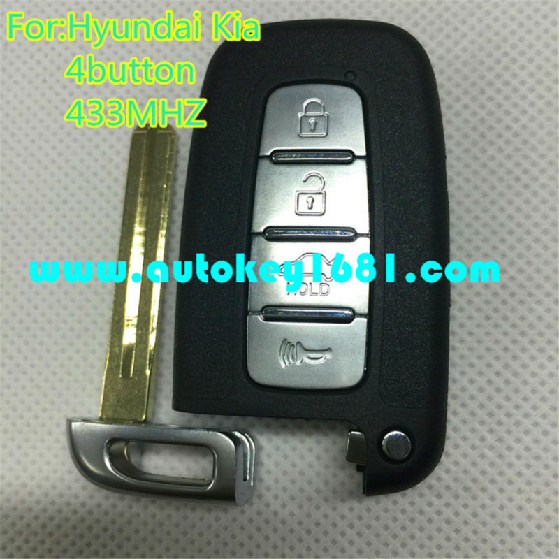 Smart Card Key For Hyundai I20 I30 SMART KEY FOB REMOTE 4-button With Uncut Blade+electronic chip