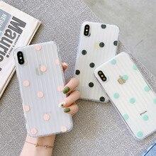 цена Transparent polka dots phone cases For iphone XS MAX XR X For iphone 6 6s 7 8 Plus Luggage case soft TPU protective case в интернет-магазинах