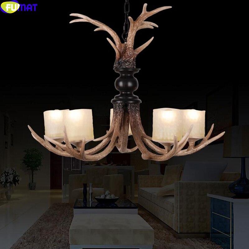 FUMAT 5 Heads Glass Lampshade Antler Pendant Lights Indoor Lighting Fixture for Bedroom Dinning Room Chrismas Hanging Lamp Light