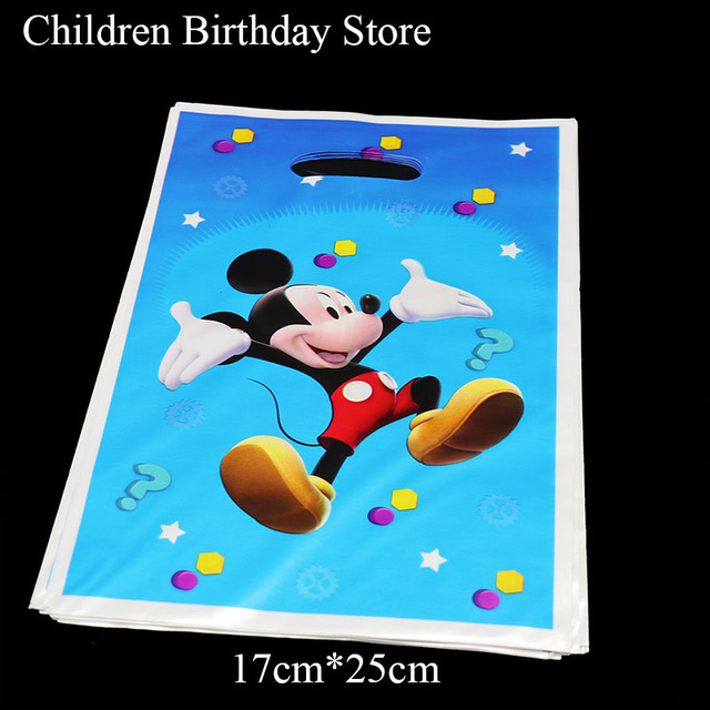 10pcs Lot Mickey Mouse Gift Bags Kids Birthday Party Decorations Plastic Candy