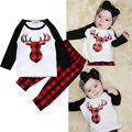 Cute Fashion Newborn Baby Boy Girl Clothes Set 2PCS Bebes XMAX Deer Top T-shirt Red Plaid Pant Outfit Bebek Giyim Tracksuit
