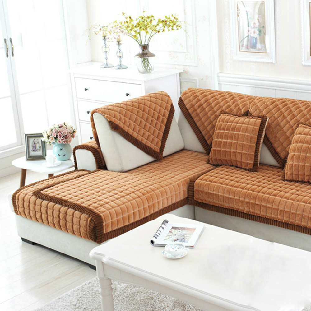 Coffee beige plaid quilting sofa cover sectional couch slipcovers furniture covers sofa protector capa de sofa s 42