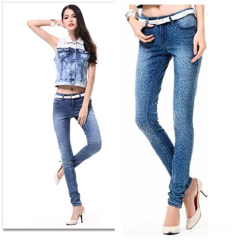 Promotion Gril Jeans Sexy Zipped Leopard Leggings Overalls White Washing Grinding Women Slim Pencil Pants Free ship