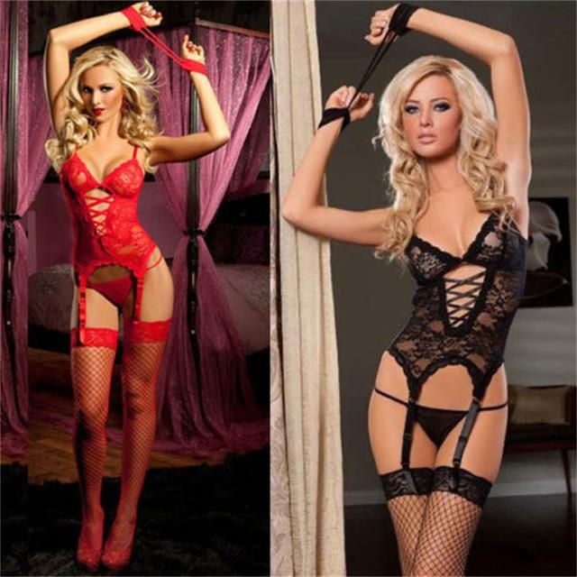 68533d34cb5 Sexy Lingerie Lady Sheer Floral Nightwear Babydoll Sleepwear Lace Dress G- string Erotic Sex Toys