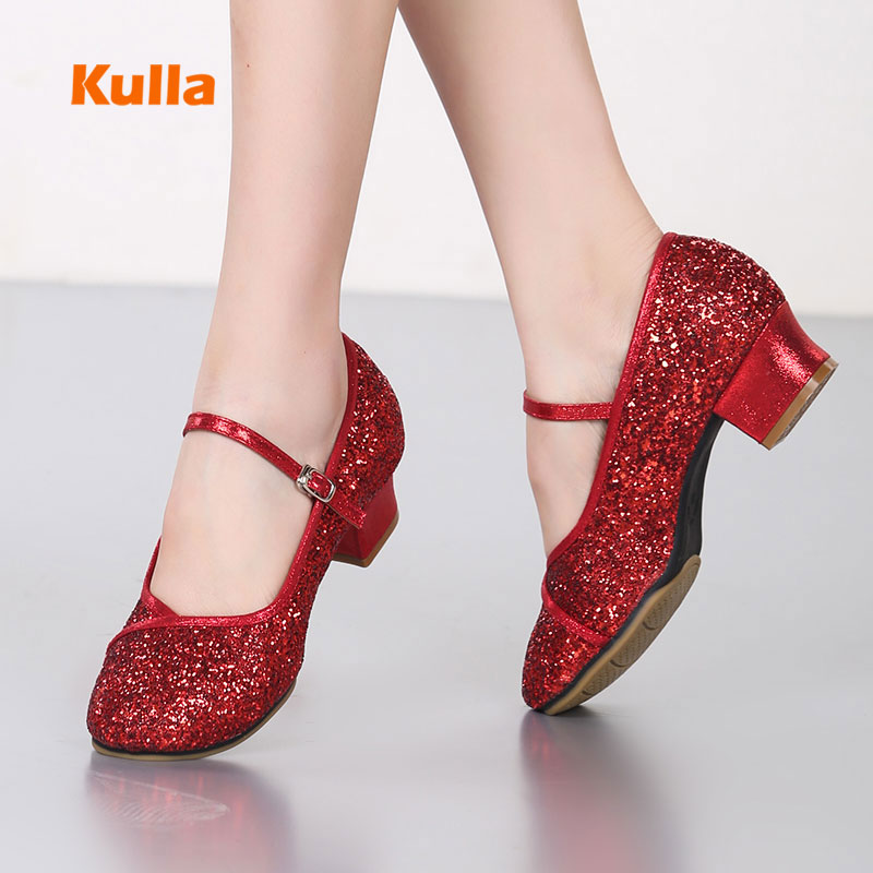 Red Black Modern Square Dance Shoes For Women Ladies Soft Rubber Sole Comfortable Ballroom Latin Jazz Dancing Shoes Middle Heels