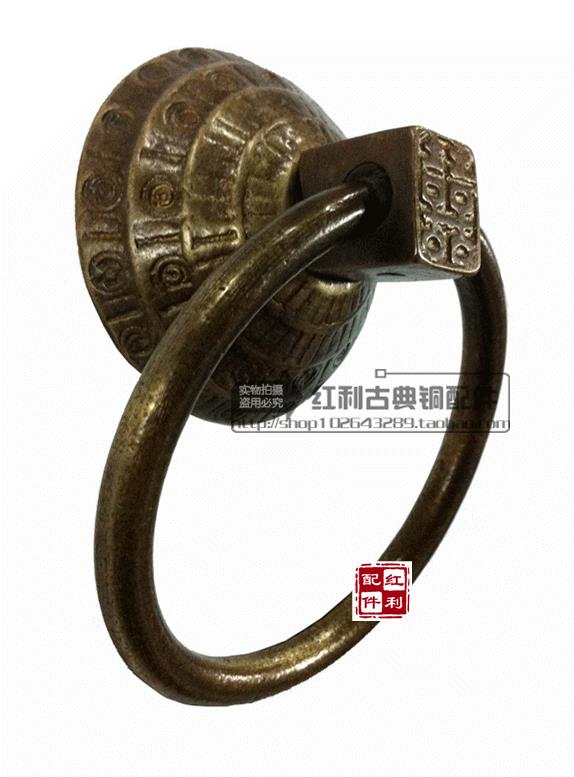 The bonus of classical Chinese door decoration antique copper copper fittings / glass double door knocker on sequence in hand square corners hanging antique copper 2 candelabra sockets clear glass