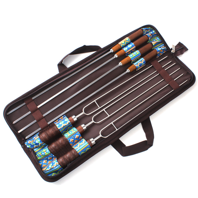 7pcs/set Stainless Steel Barbecue Skewers Outdoor Portable BBQ Needle/Sticks Fork Set Wooden Handle Picnic Tools 1