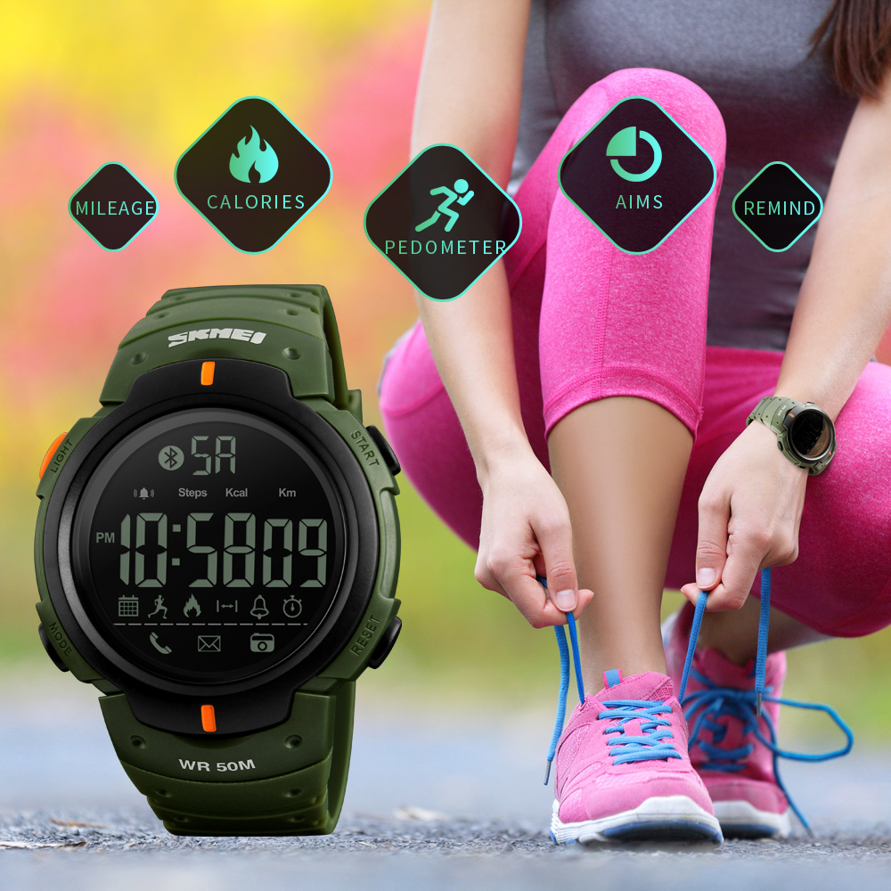 SKMEI 1301 Bluetooth Kalorien Schrittzähler Smart Uhr für Männer LED Stoßfest Militärische Multifunktions Elektronische Digitaluhren