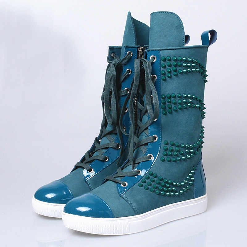 Prova Perfetto Moda Genç Kızlar Flats rahat ayakkabılar Kadın Hakiki Deri Kadın Orta Yüksek Çizmeler Sarı Mavi Perçin Dantel-up çizmeler