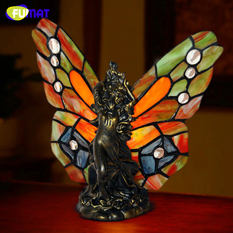 FUMAT Stained Glass Butterflies Table Lamp Creative Art Desk Lamp Living Room Bedside Light Fixtures Table Lights