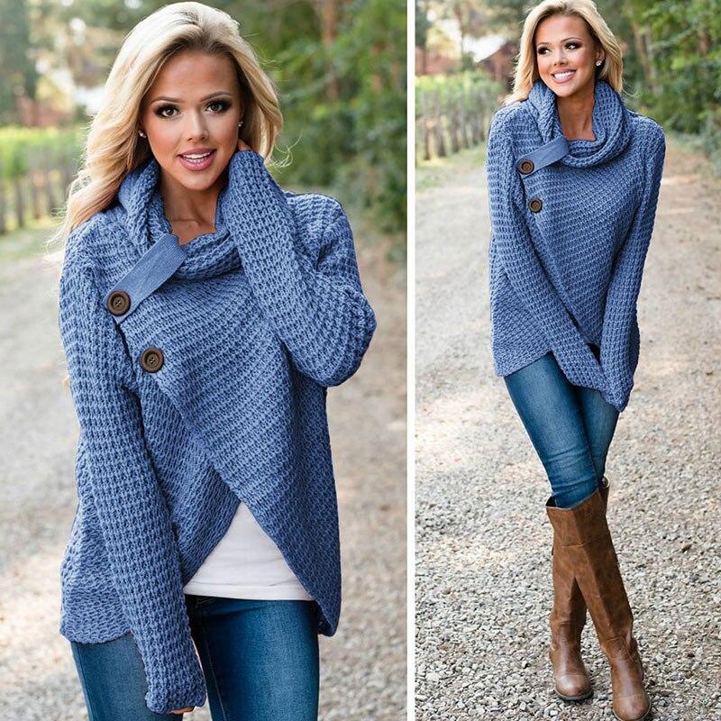 Las mujeres suéter de invierno de manga larga bufanda sólido Collar caliente suéteres de punto 2018 mujeres suéteres de cuello Tops