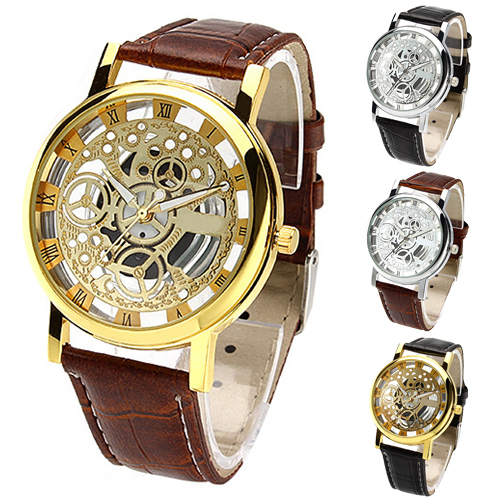 2017 Trended Men's Women's Roman Numerals Faux Leather Band Skeleton Analog Sports Dress Wrist Watch W2E8D brief faux leather roman numerals waterproof watch