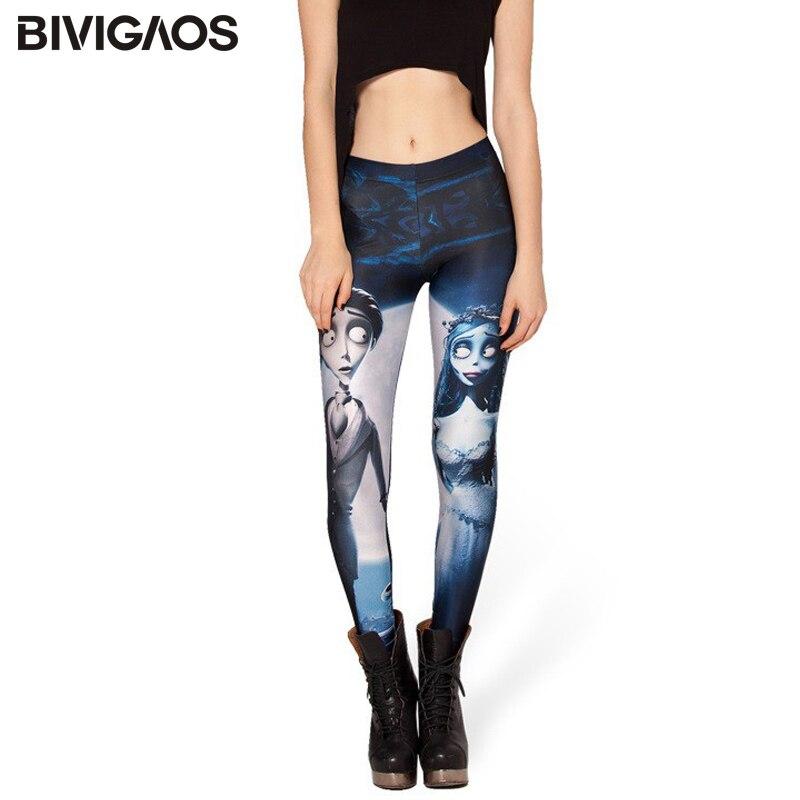 Free Shipping New Fashion Euramerican Style Galaxy Corpse Bride Pattern Printing Elastic Leggings Pencil Pants Slim For Women