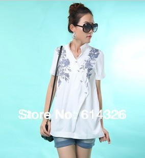 New 2014 Fashion Short Sleeve Cotton Combing Shirts For Women Stand Collar Print Shirt Plus Size Blouses Women Clothing