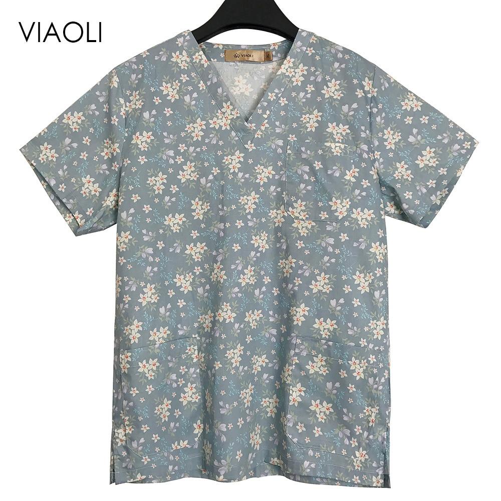 Unisex Medical Scrubs Dentist Nurse Uniform Nursing Print Scrub Tops 100%Cotton Hospital Pharmacy Doctors Work Wear Clothes