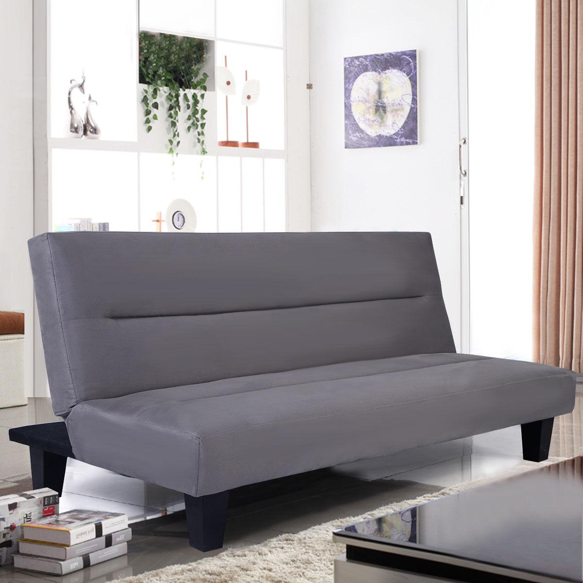 Giantex Microfiber Futon Folding Couch Sofa Bed 6 Mattress Sleep Recliner Lounger Gray Home Living Room Furniture HW51467GR 100% cotton dark blue gray orange green bed sofa plane travel home blanket
