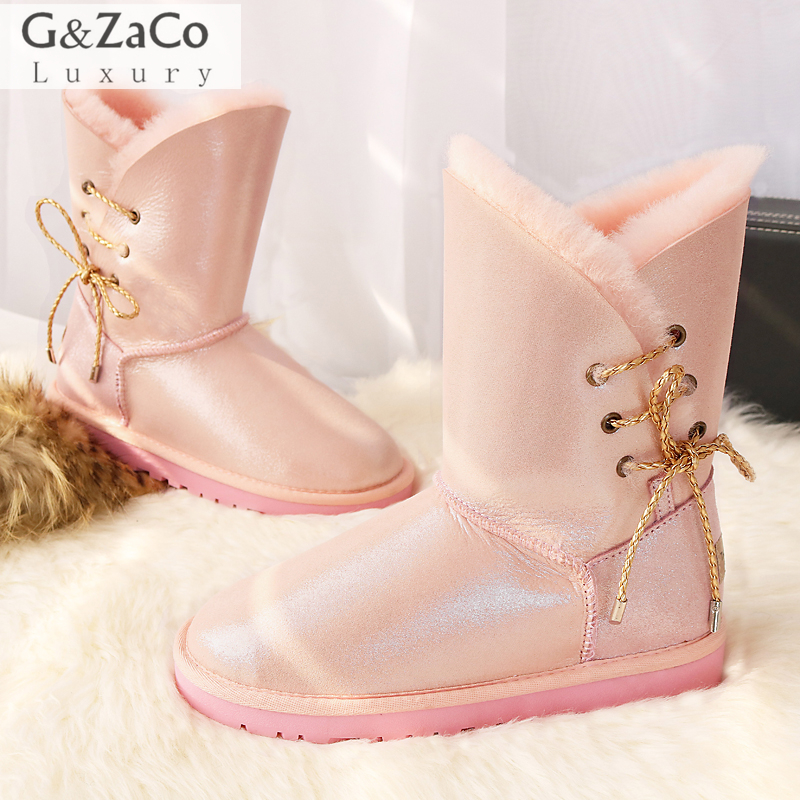 G&Zaco Luxury Winter Women Sheepskin Snow Boots Mid Calf Side Lace Flats Boots Natural Wool Sheeo Fur Shearling Genuine Leather double buckle cross straps mid calf boots