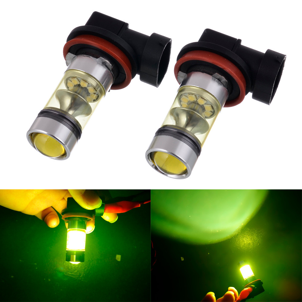 2018 Hot selling New Fashion Accessories car 2PC 100W H8 H11 LED High Power Front Fog Lamps Bulbs Yellow Light Vicky